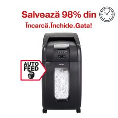 Distrugator Automat documente REXEL Auto+ 300X, 300 coli, P4, cross-cut (confeti)