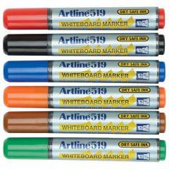 Marker pentru tabla de scris ARTLINE 519 - Dry safe ink, varf tesit 2.0-5.0mm, 6 culori/set