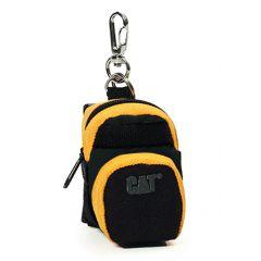 Mini rucsac cu fermoar pentru monede CATERPILLAR, cu agatatoare pentru rucsac/chei - negru cu galben