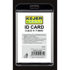Suport PP-PVC rigid, pentru ID carduri, 91 x128mm, vertical, KEJEA -alb