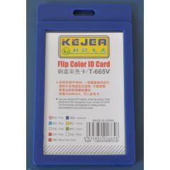 Suport PP-PVC rigid, pentru ID carduri, 74 x105mm, vertical, KEJEA -albastru