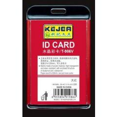 Suport PP-PVC rigid, pentru ID carduri, 74 x105mm, vertical, KEJEA -rosu