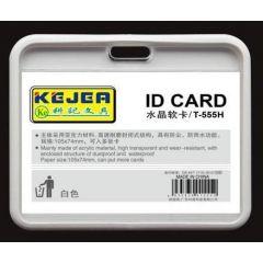 Buzunar PVC, pentru ID carduri,  128 x 91mm, orizontal, 5 buc/set, KEJEA - alb