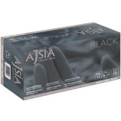 Manusi nitril AJSIA Black, unica folosinta, nepudrate, 0.13mm, 100 buc/cutie - negre - marime  M