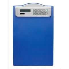 Clipboard simplu A4, din plastic rigid, cu calculator, ALCO - albastru