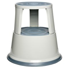 Taburet metalic cu rotile, pentru rafturi inalte, ALCO - gri deschis
