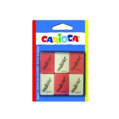 Radiere dreptunghiulare, 6 buc/blister, CARIOCA - albe/rosii