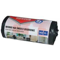 Saci menaj rezistenti 240L, 90 x 140cm, 30 microni, 10buc/rola, Office Products - negri