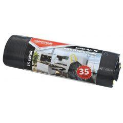 Saci menaj super rezistenti  35L, cu snur, 46 x 56cm, 25 microni, 15buc/rola, Office Products - negr