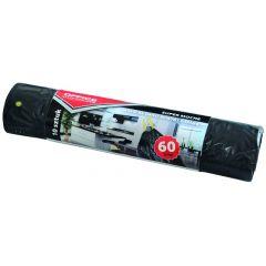 Saci menaj super rezistenti  60L, cu snur, 57 x 72cm, 25 microni, 10buc/rola, Office Products -negri