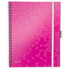 Caiet de birou LEITZ WOW Be Mobile, PP, A4, 80 coli, cu spira, dictando, roz