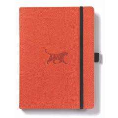 Caiet cu elastic, A5+, 96 file-100g/mp-cream, coperti rigide orange, Dingbats Tiger - velin
