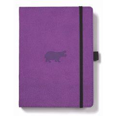 Caiet cu elastic, A5+, 96 file-100g/mp-cream, coperti rigide violet, Dingbats Hippo - velin