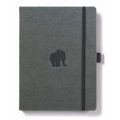 Caiet cu elastic, A5+, 96 file-100g/mp-cream, coperti rigide gri, Dingbats Elephant - cu puncte