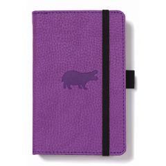Caiet cu elastic, A6, 96 file-100g/mp-cream, coperti rigide violet, Dingbats Hippo - matematica