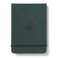 Blocnotes cu elastic, A6+, 96 file-100g/mp-cream, coperti rigide verzi, Dingbats Deer - cu puncte