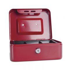 Caseta (cutie) metalica pentru bani, 200 x 160 x 90 mm, DONAU - rosu