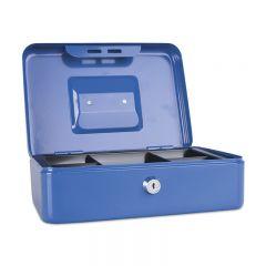 Caseta (cutie) metalica pentru bani, 250 x 180 x 90 mm, DONAU - albastru