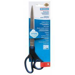 Foarfeca otel, ergonomica, 25cm, cu rubber grip, DONAU Soft Grip - maner albastru