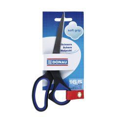 Foarfeca otel, ergonomica, 16.5cm, cu rubber grip, DONAU Soft Grip - maner albastru