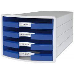 Suport plastic cu 4 sertare pt. documente, HAN Impuls 2.0 (open) - gri deschis - sertare albastre