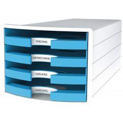 Suport plastic cu 4 sertare pt. documente, HAN Impuls 2.0 (open) - alb - sertare bleu