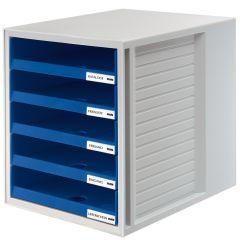 Suport plastic cu 5 sertare pentru documente, HAN (open) - gri deschis - sertare albastre