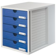 Suport plastic cu 5 sertare pentru documente, HAN - gri deschis - sertare albastre
