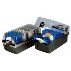 Cutie plastic pentru 60 CD/DVD, cu cheita, HAN Max 60 - negru