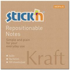 "Notes autoadeziv 76 x  76 mm, 100 file, Stick""n - kraft"