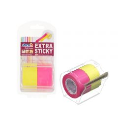 "Notes autoadeziv in rola, cu dispenser, 25 mm x 10 m, 2 buc/set, Stick""n - 2 culori neon"