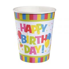 PAHAR CARTON 0,25 L SET 10 BUCATI, MOTIV HAPPY BIRTHDAY RAINBOW