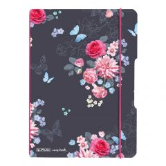CAIET MY.BOOK FLEX A5 40F 80GR PATRATELE, COPERTA LADYLIKE FLOWERS, ELASTIC ROZ