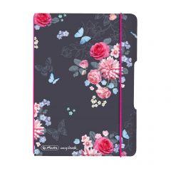 CAIET MY.BOOK FLEX A6 40F 80GR PATRATELE, COPERTA LADYLIKE FLOWERS, ELASTIC ROZ