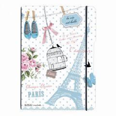 CAIET MY.BOOK FLEX A4 2X40F DICTANDO+PATRATELE VINTAGE PARIS CU LOGO NEGRU