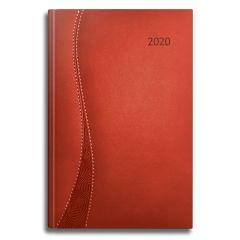 AGENDA DATATA DELTA RO A5, 352 PAGINI, COPERTA DIN PIELE SINTETICA, CULOARE ROSU, MARGINI AURII, 2020