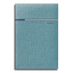 AGENDA DATATA FLASH RO A5, 352 PAGINI, COPERTA DIN PIELE SINTETICA, CULOARE AZURIU, MARGINI ARGINTII, 2020