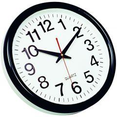 Ceas de perete, D-28 cm, cifre arabe, cadran alb, rama plastic neagra, Q-Connect Tokyo