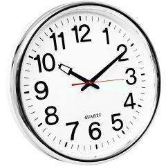 Ceas de perete, D-37.5 cm, cifre arabe, cadran alb, rama plastic argintie, Q-Connect Warsaw