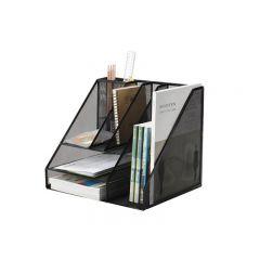 Organizer metalic Mesh, de birou, tavite+suporti de reviste, 7 compartimente, Q-Connect - negru