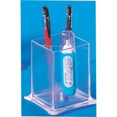 Suport plastic pentru instrumente de scris, paralelipipedic,  71 x 100mm, KEJEA - transparent mat