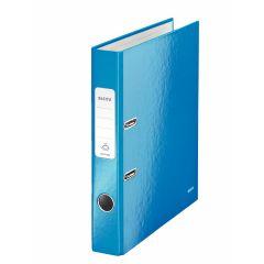Biblioraft LEITZ 180 WOW, carton laminat, A4, 52 mm, albastru