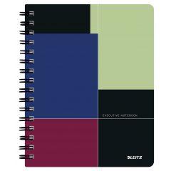 Caiet de birou LEITZ Executive, PP, A5, 80 coli, cu spira, matematica, negru-violet