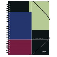 Caiet de birou LEITZ Executive Be Mobile, PP, A4, 80 coli, cu spira, matematica, negru-violet
