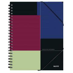 Caiet de birou LEITZ Executive Be Mobile, PP, A4, 80 coli, cu spira, dictando, negru-violet