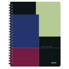 Caiet de birou LEITZ Executive Get Organized, PP, A4, 80 coli, cu spira, matematica, negru-violet