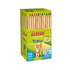Creioane colorate triunghiulare, cutie carton, 120 buc/cutie, ALPINO Trimax
