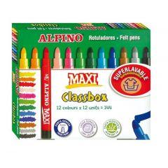 Carioca lavabila, 12 x 12 culori/cutie, ALPINO Maxi Economy pack - ideale pentru scoli si gradinite