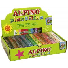 Display plastilina standard, 12 x 150gr./display, ALPINO -  12 culori asortate