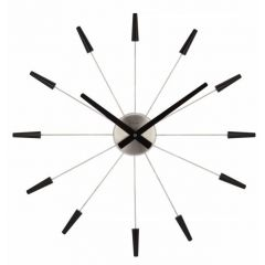 "Ceas de perete, D-58 cm, otel inoxidabil, NeXtime - ""Plug Inn"", negru"